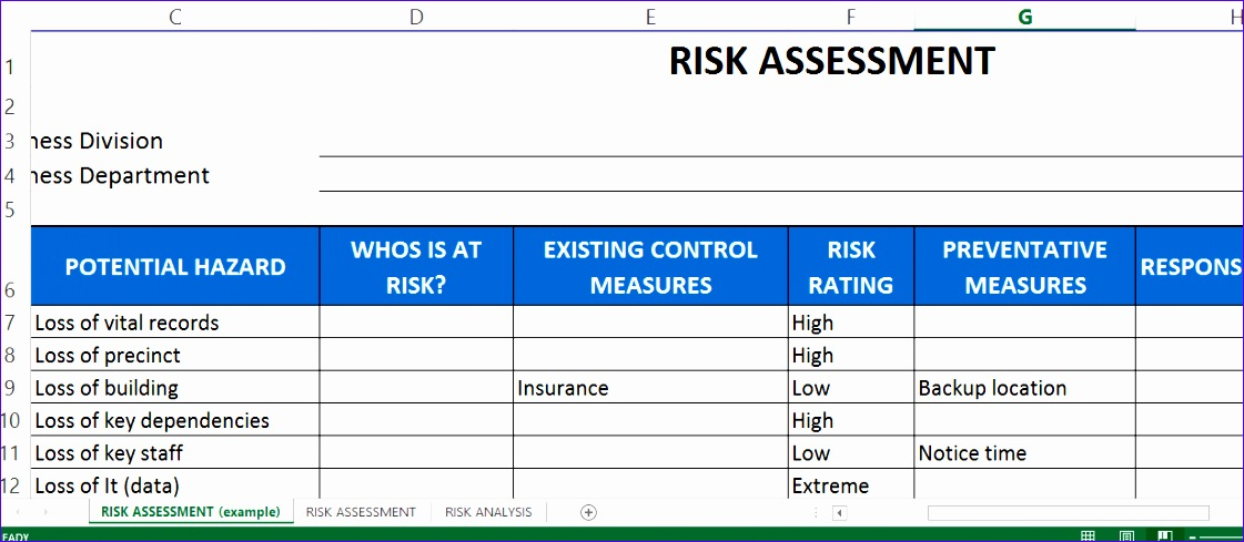 risk assessment template excel 1121489