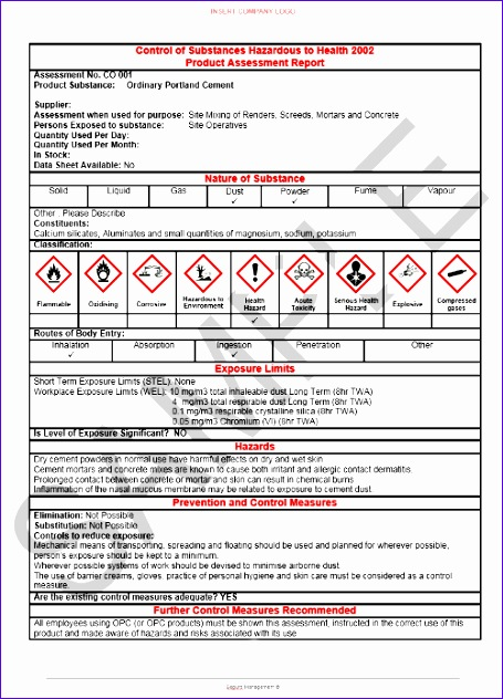 coshh assessments pack