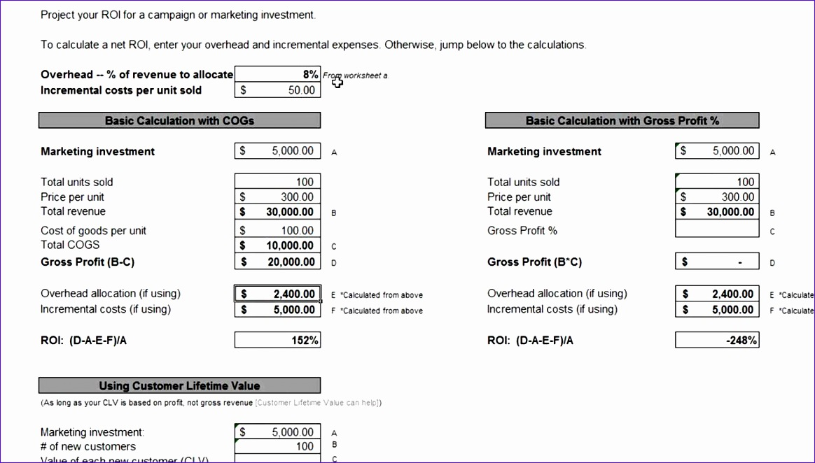 Roi Calculator Excel Template  Exceltemplates  Exceltemplates