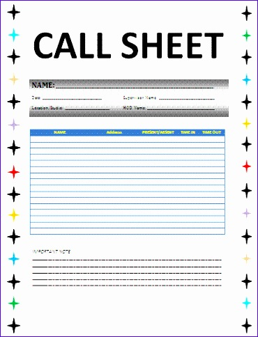 call sheet template 370484