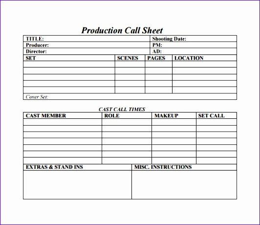 Call Sheet Template 532460