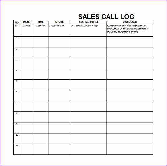 Sales Call Log Template Excel  Exceltemplates  Exceltemplates