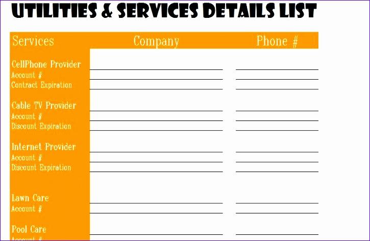 utilities services detail list 725472