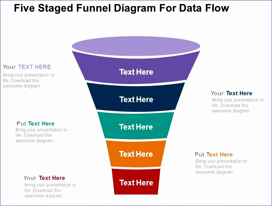 five staged funnel diagram for data flow flat powerpoint design 873662