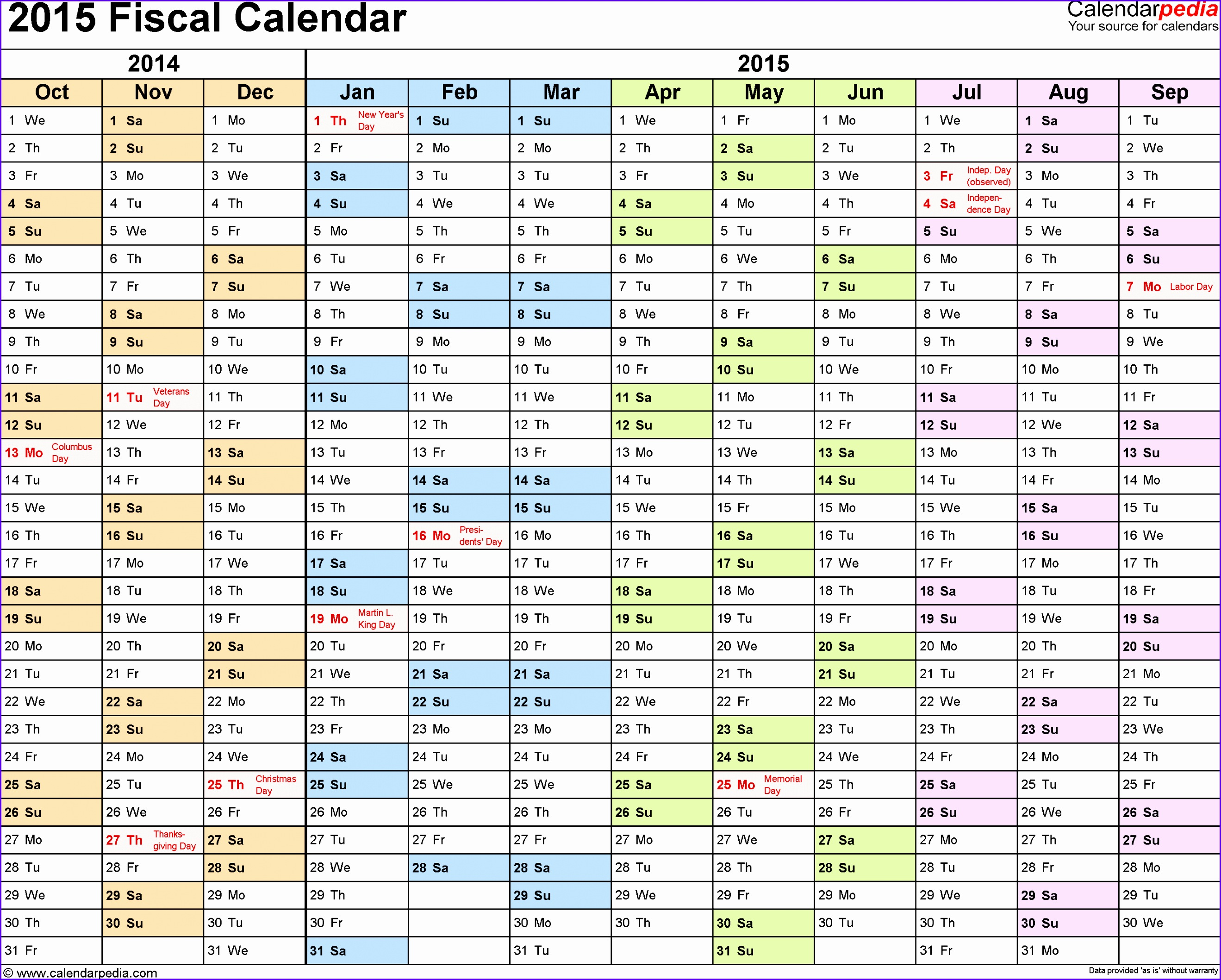 Template 1 Fiscal year calendar 2015 for PDF landscape orientation months horizontally 26382117