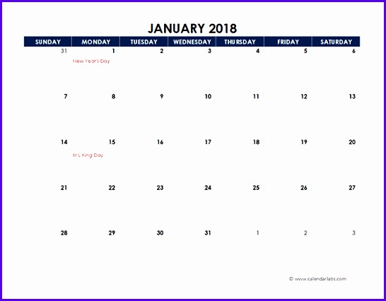2018 Excel Calendar Spreadsheet Template 546426