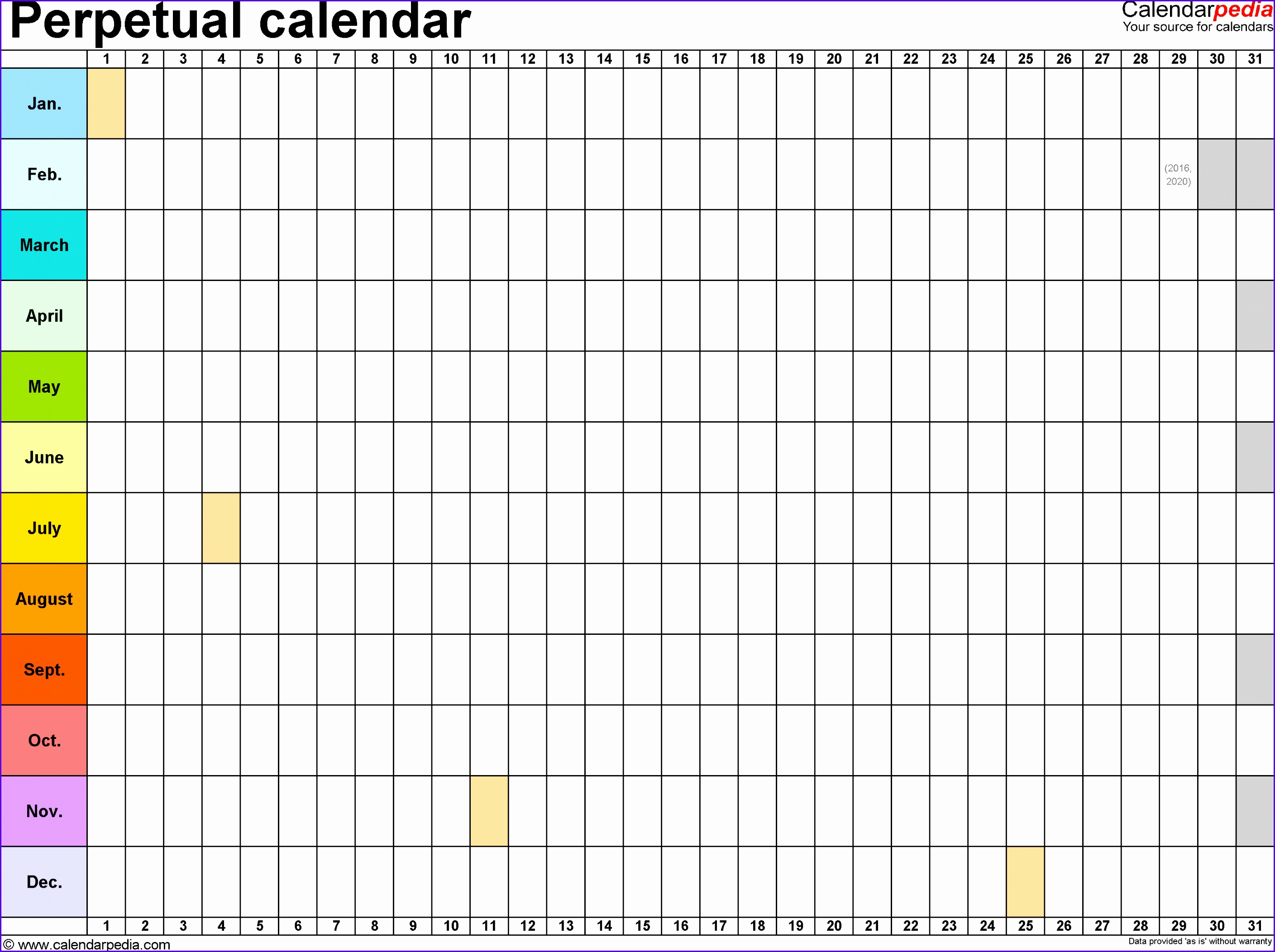 Template 2 Excel template for perpetual calendar landscape orientation 1 page 28172104