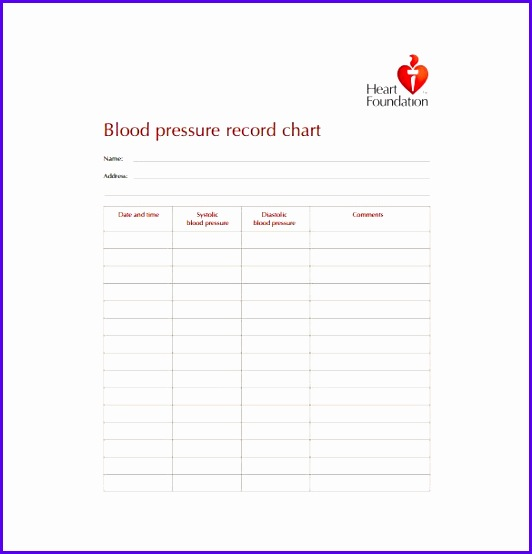 Blood Pressure Record Chart Heart Foundation 532554