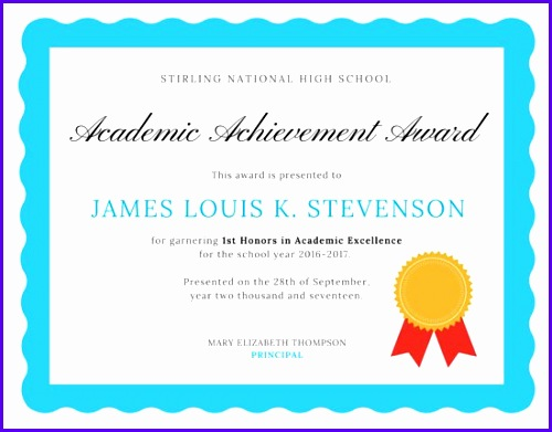 Academic Excellence Certificate 500391
