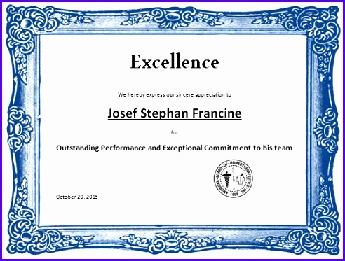 Certificate Of Excellence Template  Exceltemplates  Exceltemplates