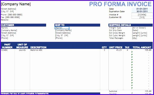 spreadsheets invoice proforma 582360