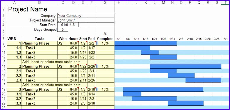 Gantt Chart in Excel created using the QI Macros SPC Software 776372