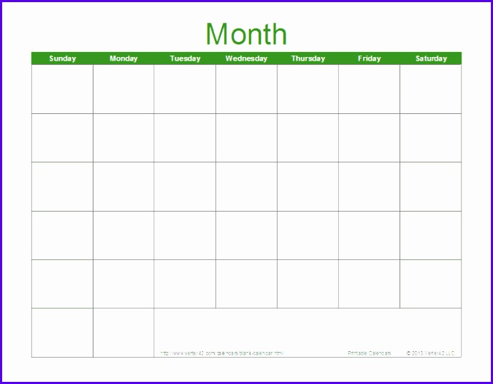 Blank Calendar Template for Excel Download