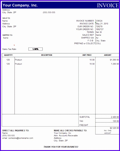 free invoice excel template 421529
