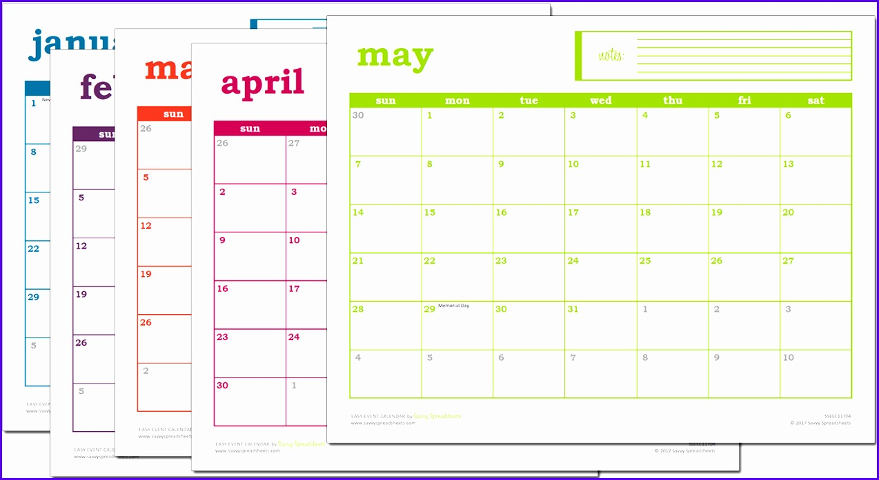 Easy Event Calendar 2017 Excel Template Prints 1274697