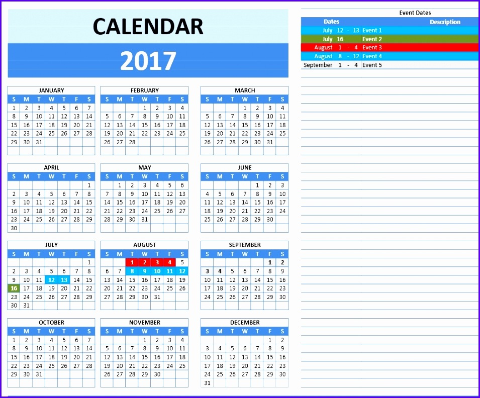 8 Event Calendar Excel Template Exceltemplates Exceltemplates