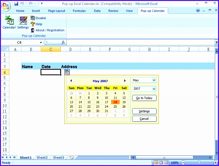 Pop up Excel Calendar Excel date picker main screen Excel 2007 728552