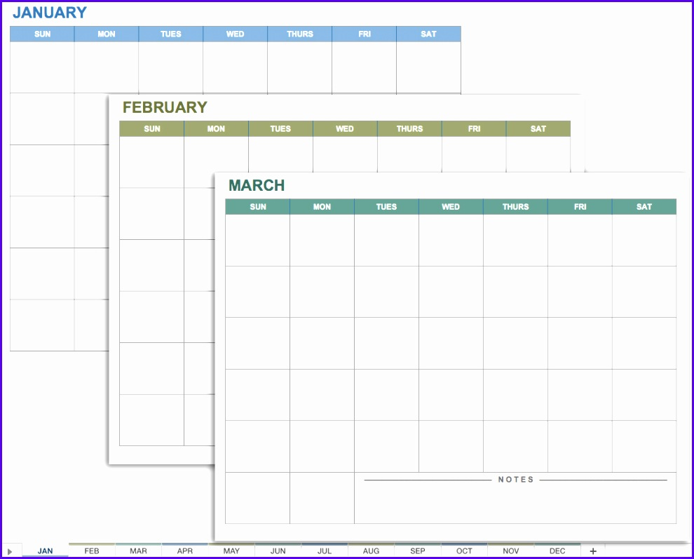 Any Year 12 Month Calendar Template 990797