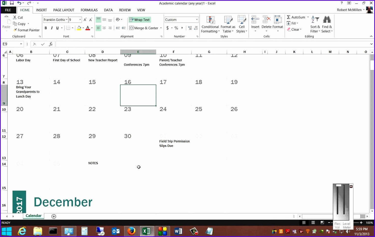 Review of the free calendar templates in Microsoft Excel 2013 1528967