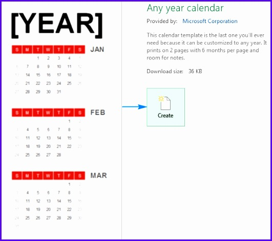 To make a calendar based on a template click on it and then click 531471