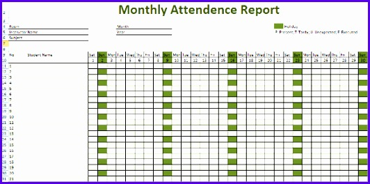 Excel Attendance Template  Exceltemplates  Exceltemplates