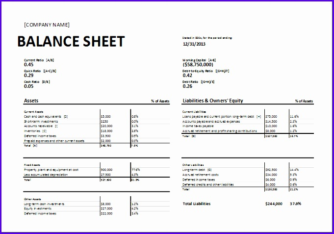 Excel Balance Sheet Template Free  Exceltemplates  Exceltemplates