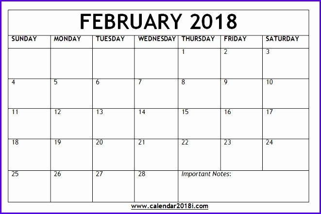february 2018 blank calendar template 661441