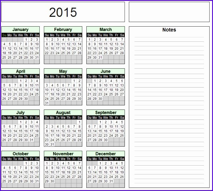 Free Excel Calendar Template Yearly & Monthly 2015 2016 2017 etc 747668