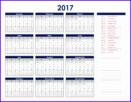 2017 Excel Calendar Template Download FREE Printable Excel Templates 546426