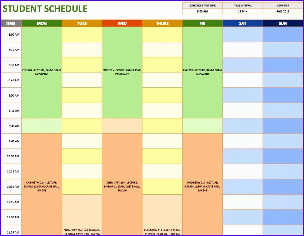 Excel College Schedule Template  Exceltemplates  Exceltemplates