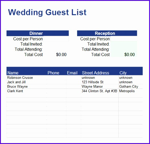 Guest List Template Excel 527506