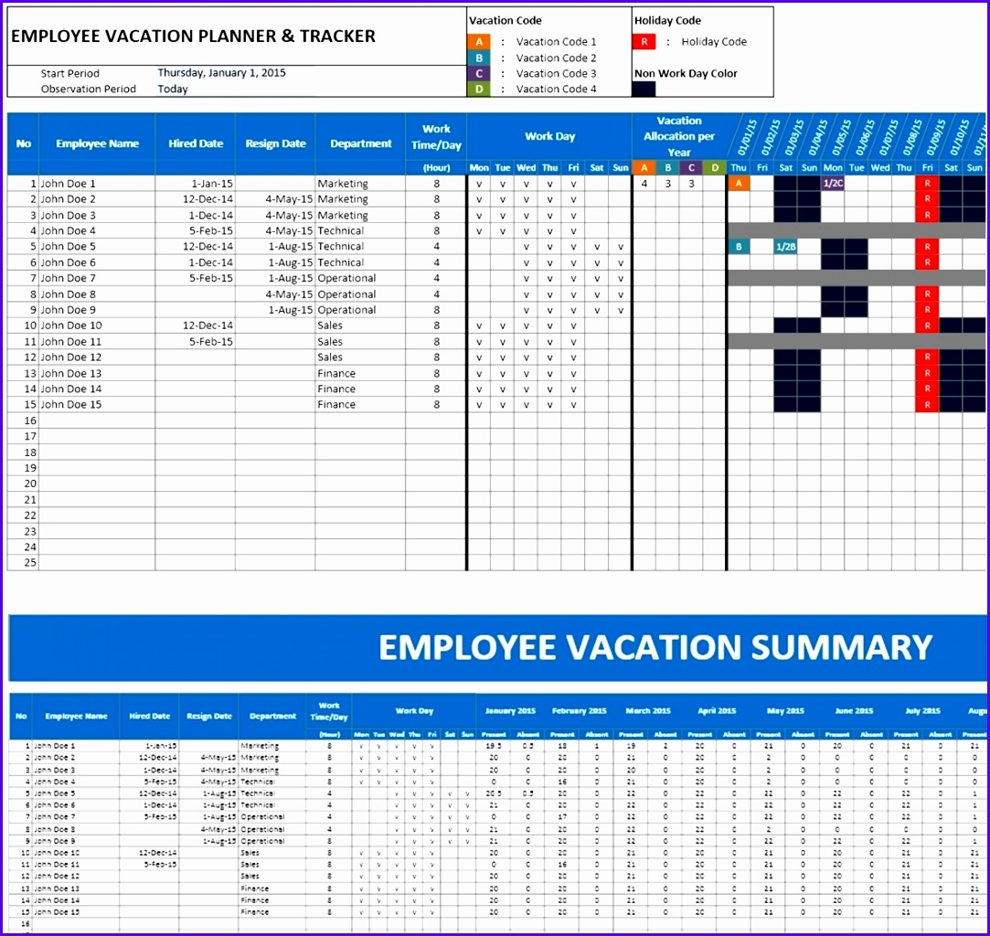 Employee Vacation Planner for Excel 10831024