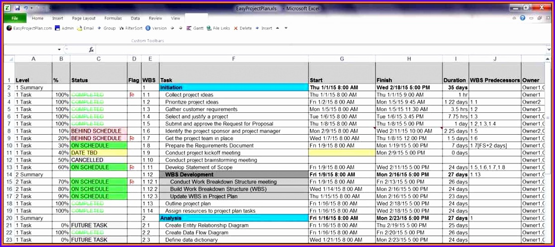 Excel Project Plan Template 1116497