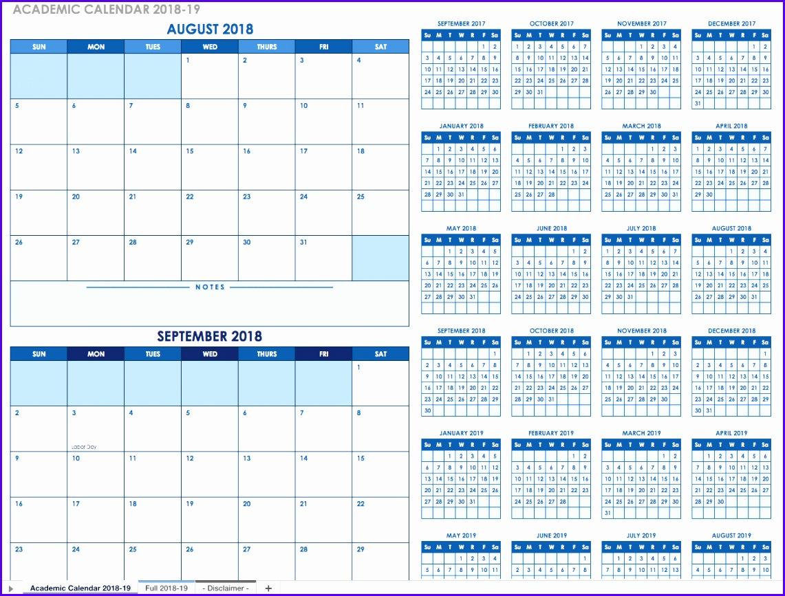 Academic Calendar 2018 2019 Template 1141867