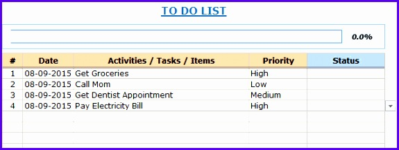 Free Excel Template To Do List Drop Down 575217