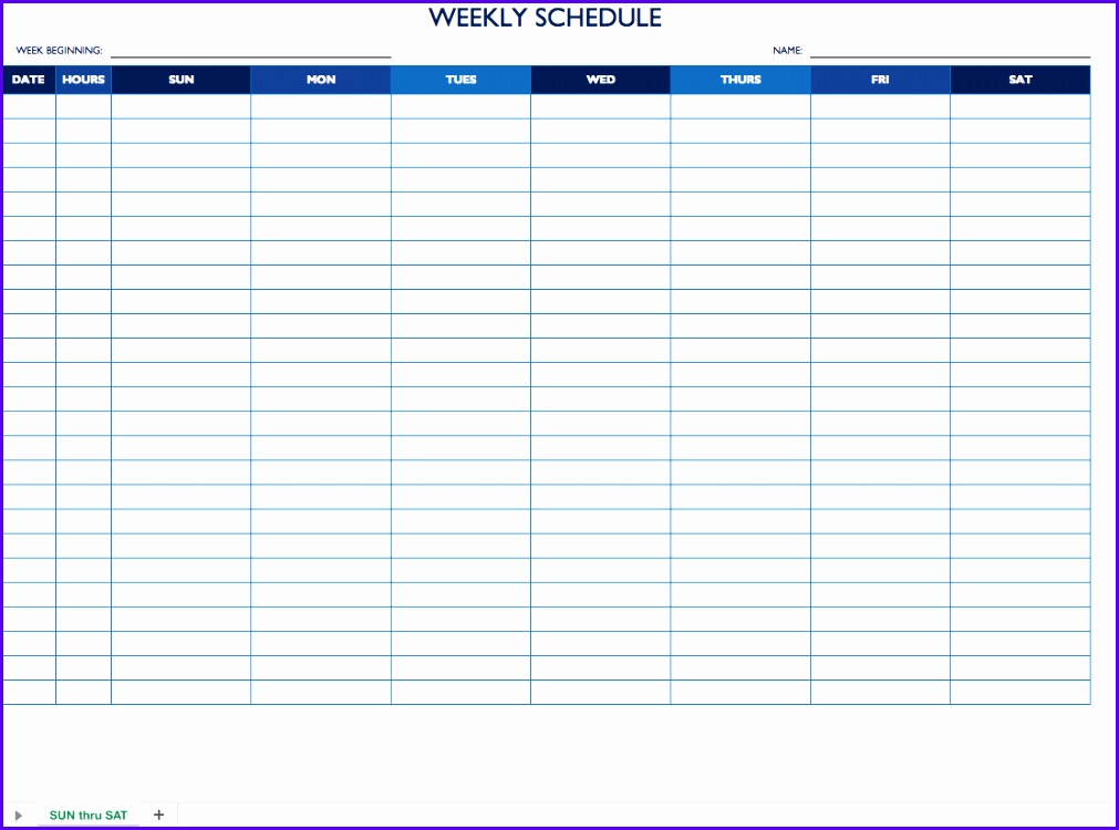 Sun Sat Weekly Work Schedule Template 1011750