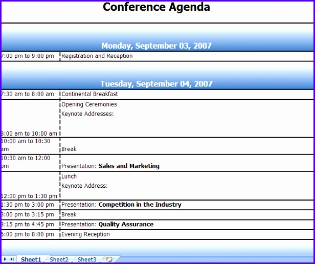 Conference Agenda Excel Template Sample Agenda Planner Sample Event ...