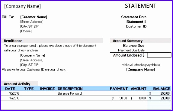 Billing Statement Template