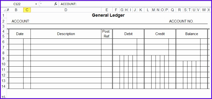 General Ledger Template And Free Download 803376