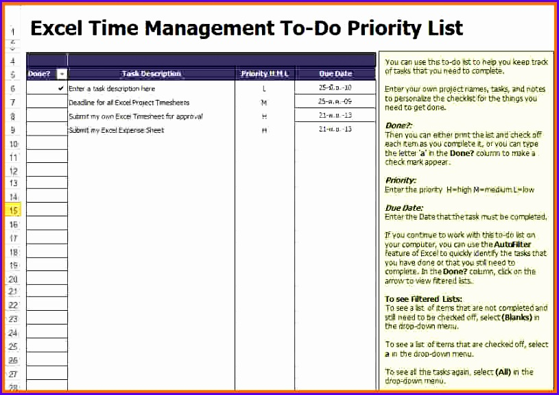 7 Excel To Do List Template 815577