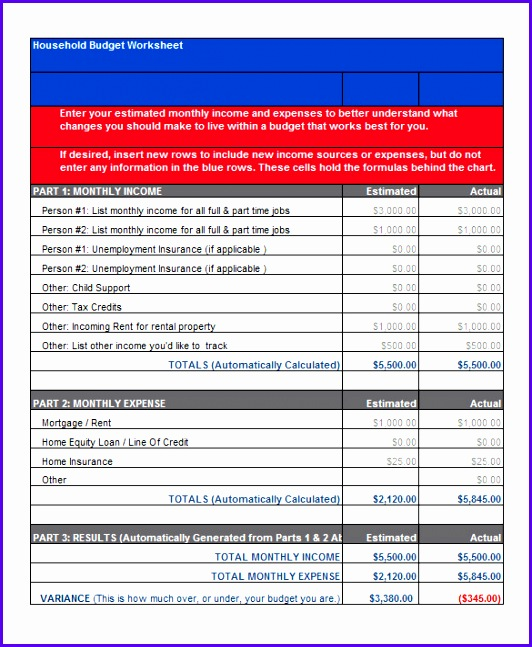 Household Bud Worksheet Template Excel Format Download 532647