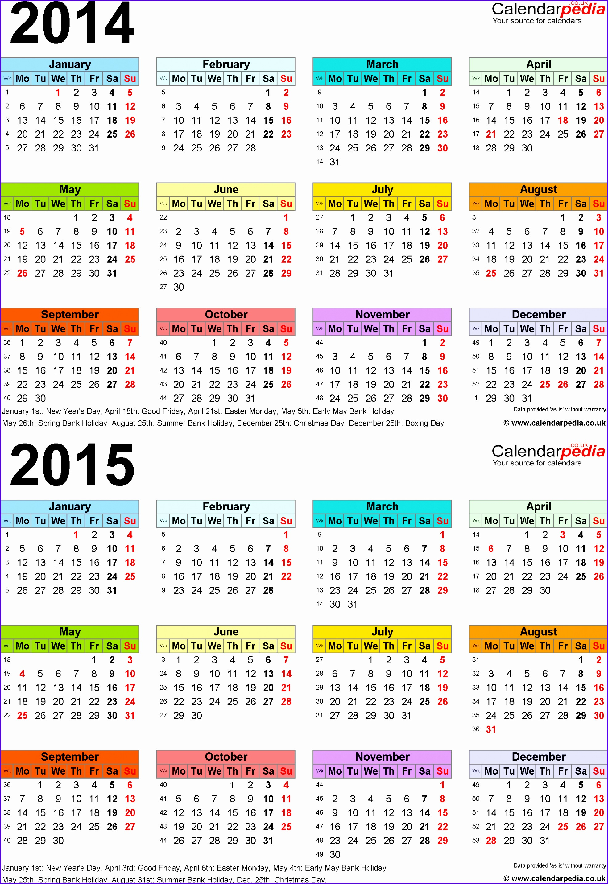 Template 3 Excel template for two year calendar 2014 2015 in colour portrait 19712866