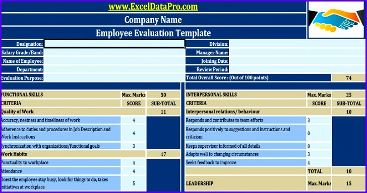 Download Employee Evaluation or Employee Performance Evaluation Excel Template 728384