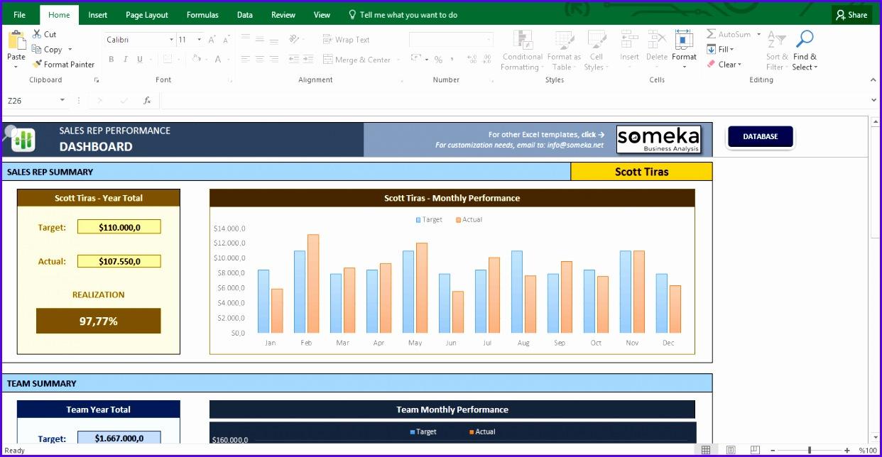 Salesman Performance Tracking Excel Template Template Screenshot Image 1 Someka 1242644