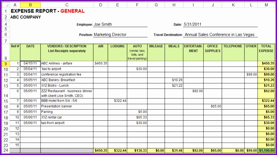 Expense Report Template Excel Expense Template 917515