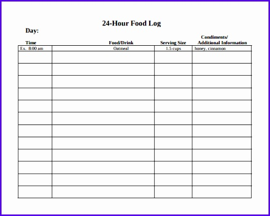 Food Log Template 14 Download Free Documents In Pdf Word Excel 532425