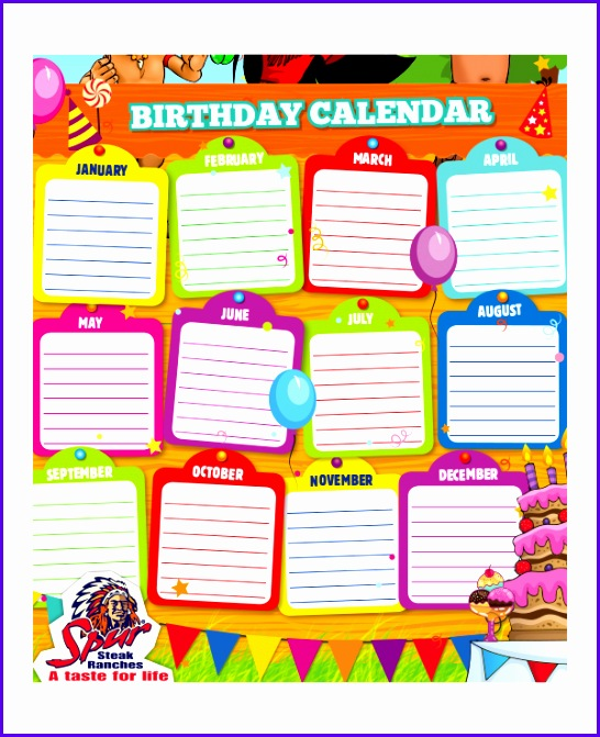 Sample Free Birthday Calendar Template Excel Boonf Beautiful Sales