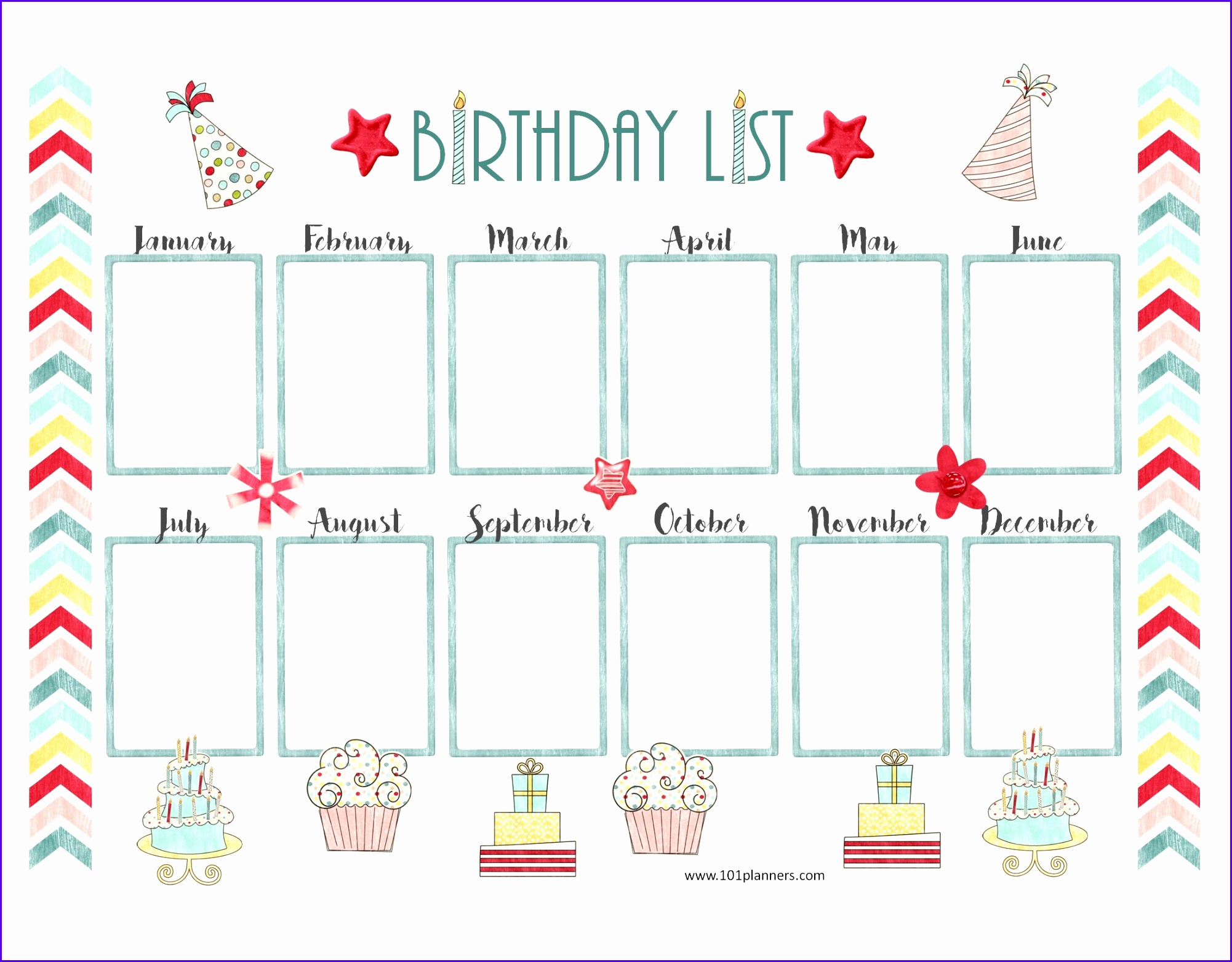 Pretty birthday calendar template 20021564