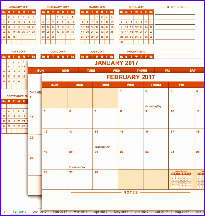 2017 Full Year Calendar Template 685721