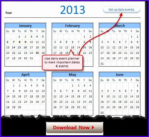 FREE 2013 Calendar Excel Template Download today 505463